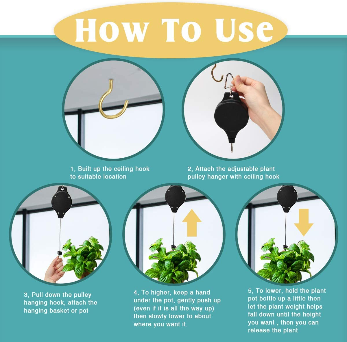 COITEK 2 Pack Plant Pulley Hanger Adjustable Heavy Duty Plant Hanging Pulleys for Garden Baskets /& Bird Feeder with 2 PCS Gold Metal Ceiling Plant Hooks Retractable Plant Hook Pulley