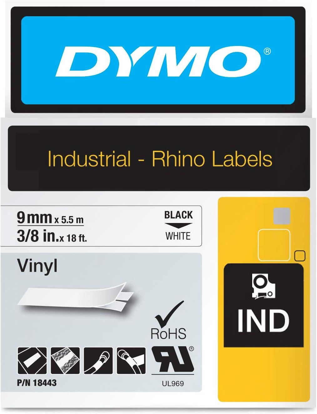 2PC Schwarz auf weiß 18443 VINYL Farbbänder für Dymo RHINO LP 200 250 300 350