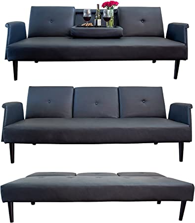 Amazon.com: Leather Futon Sofa Bed with Tray and Cup Holders ...