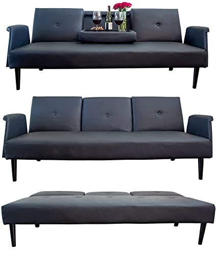 Leather Sofa Bed With Tray And Cup Holders, Black, Contemporary Futon Bed,  Gorgeous