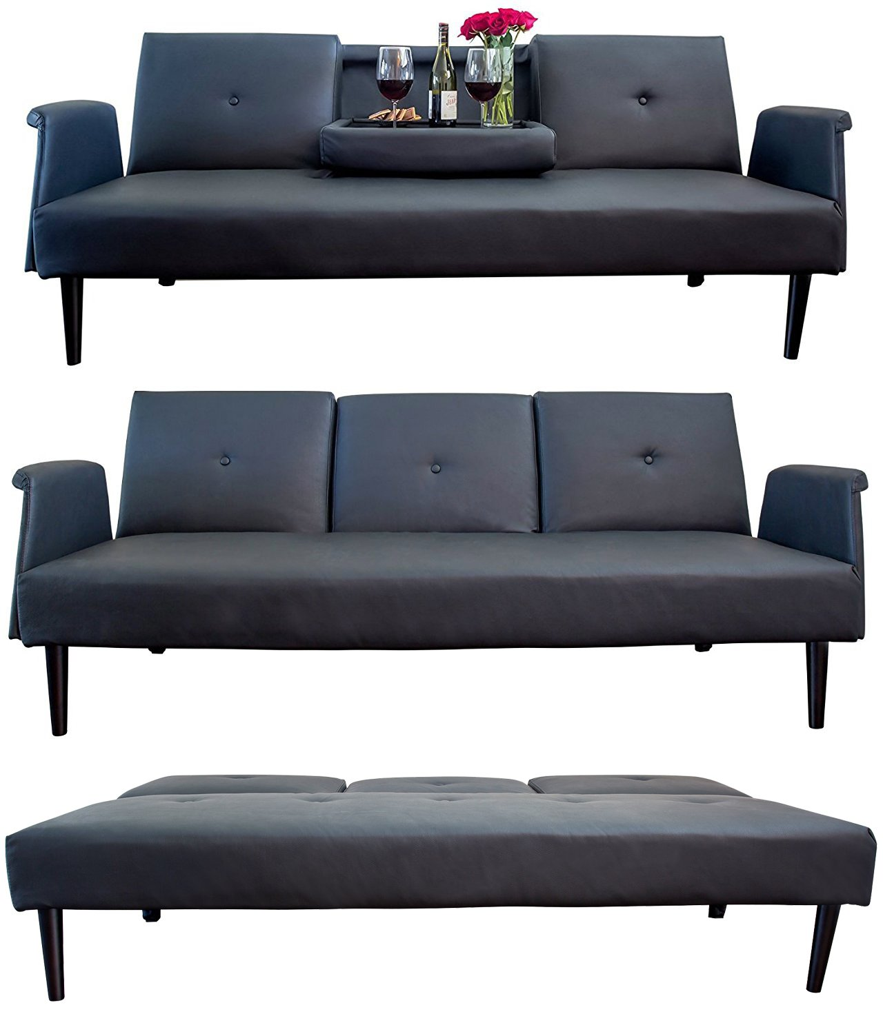 Leather sofa bed with tray and cup holders black contemporary futon bed gorgeous