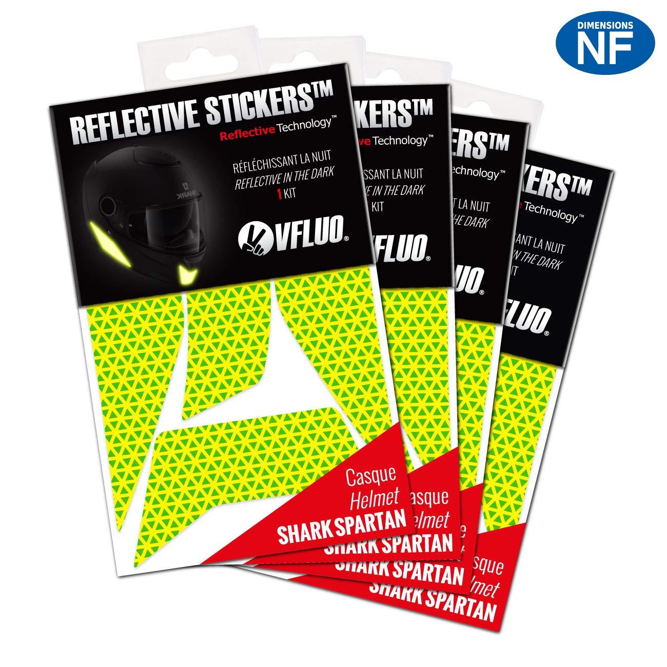 Kit 4 Adhesivos Retro-Reflectantes Casco Shark Spartan/™ y Compatible con Todos los Cascos de Motocicleta Blanco 3M Technology/™ VFLUO Spartan/™
