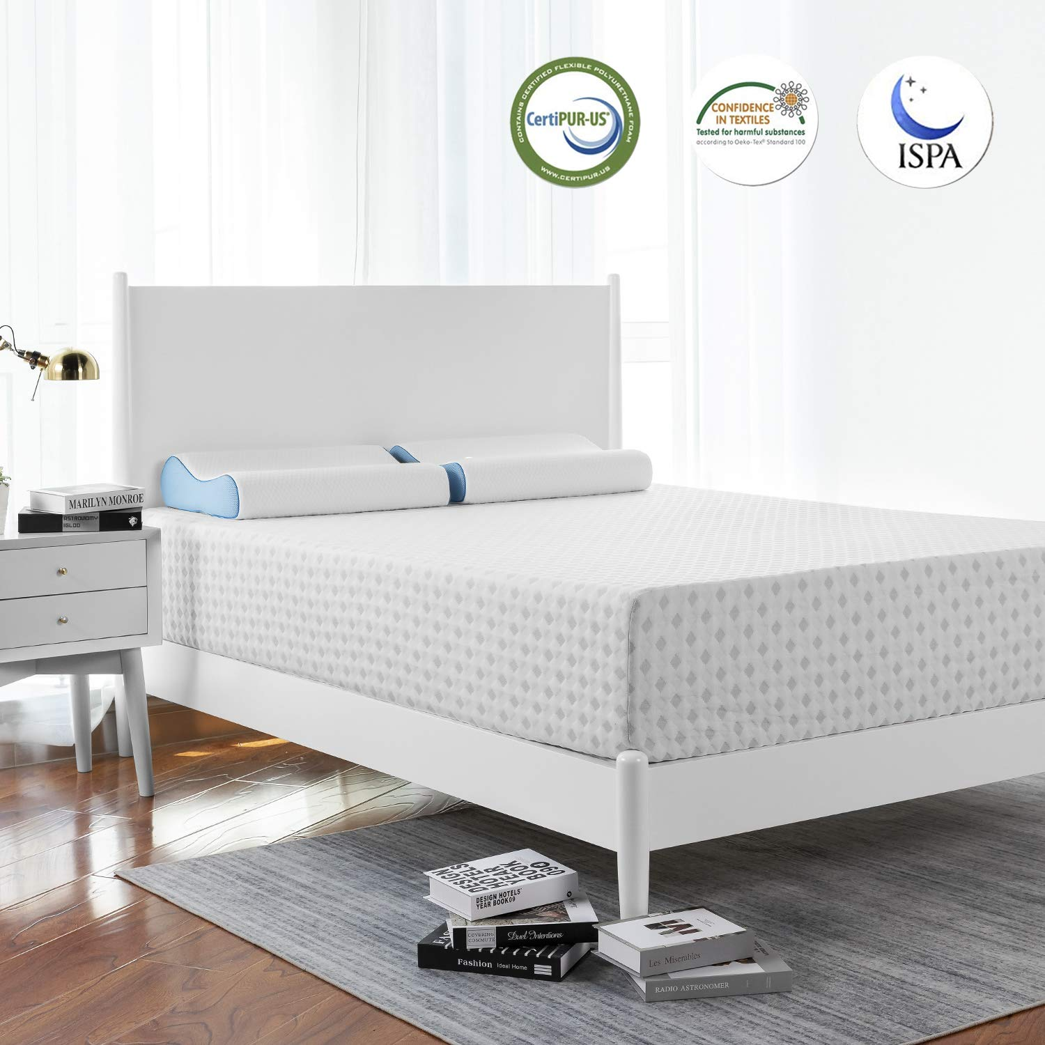 Medium Firm Mattress Twin XL Drom RUUF Twin Extra Long Adjustable Bed Base with 10 Inch Creative Foam Mattress Adjustable Bed Frame with Independent Head and Foot Incline Control by Wireless Remote