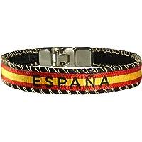HAND-PRO Pulsera España Bandera de españa Pulsera españa Cinta Pulsera Tela españa Pulsera de Cuero Bandera españa