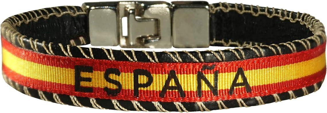 HAND-PRO Pulsera España Bandera de españa Pulsera españa Cinta Pulsera Tela españa Pulsera de Cuero Bandera españa: Amazon.es: Joyería