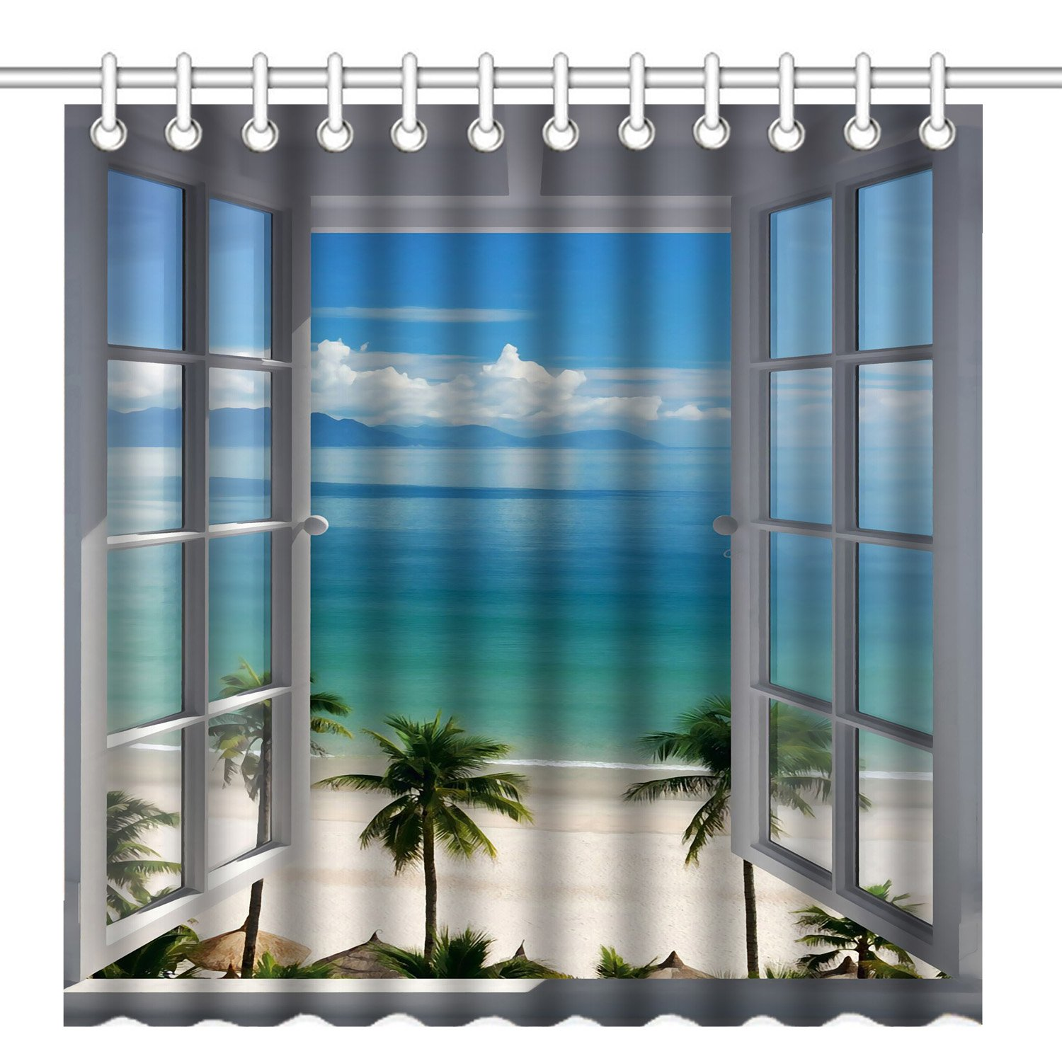 Wknoon 72 x 72 Inch Shower Curtain, Palm Trees Tropical Island Beach Scenery Nature Paradise Panoramic Picture Through Wooden Windows, Waterproof Polyester Fabric Decorative