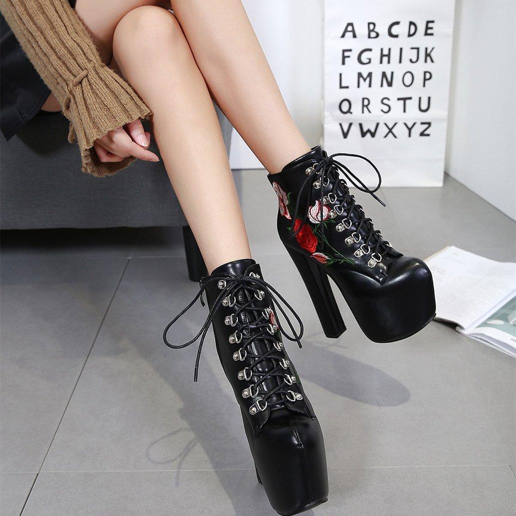 GoldGOD Frauen Damen High Heels Dick Mit Bestickten Trägern Trägern Trägern Stiefel Wasserdicht Plattform Rosansandalen,schwarz,38 0dcc81