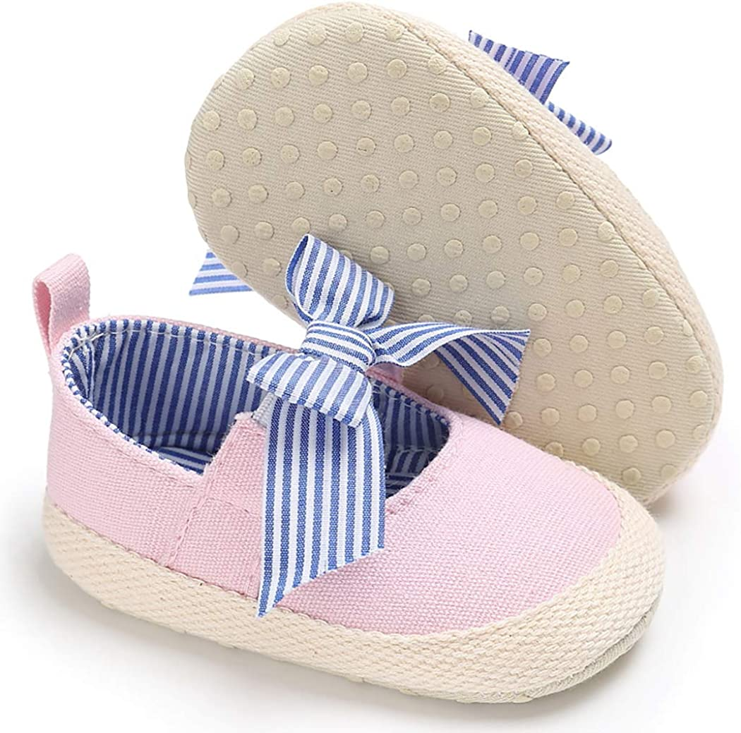 CINDEAR Infant Baby Girls Princess Shoes Soft Sole Bowknot Prewalker Mary Jane Flats Newborn Crib Shoes