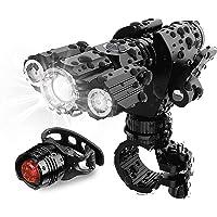 Luzes de bicicleta na frente e atrás – Conjunto de farol e luz traseira de bicicleta, ajuste de LED super brilhante em…