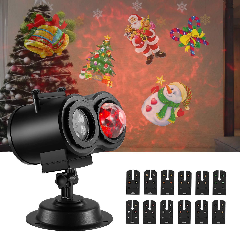 NEXGADGET Projektionslampe, LED Lichteffekt kombiniert Wellenkräuselsicht mit 12 Muster, Wand Projektor Beleuchtung Wasserdicht IP65 mit Timer & Fernbedienung für Innen Außen Halloween Weihnachten usw CFRWPL-SWDeu-BLK