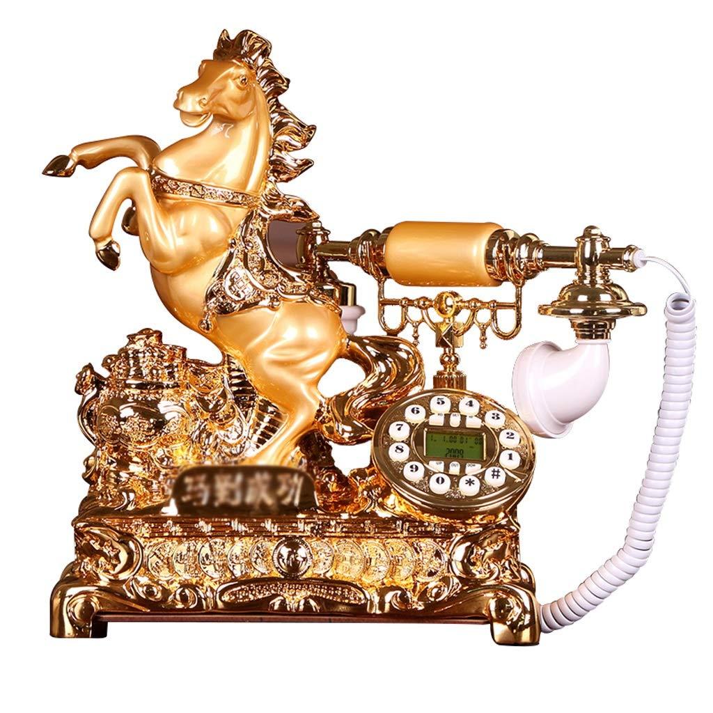家の固定電話、レトロなビンテージアンティーク有線固定家庭用電話およびオフィスの装飾 (色 : 白) B07JJYXJRR ゴールド