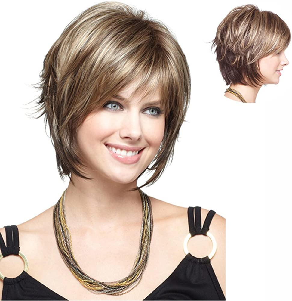 NEWPECK Girls Fashion Loose Kinky Curly Short Hair Women Cosplay Wig Mixed Golden+Brown