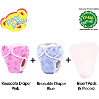 Paw Paw Reusable Fabric Diaper (2 Diapers) with Insert Pads (5 Pieces) - Combo Pack (Large (8-12 Kg), Blue)
