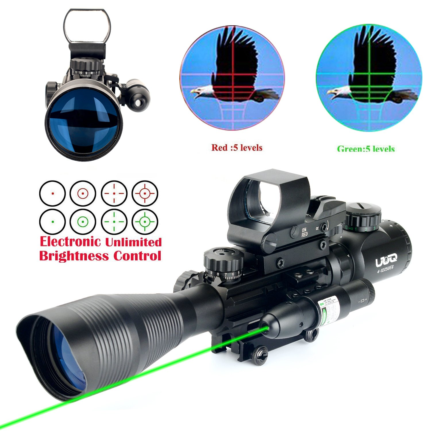 UUQ C4-12X50 AR15 Rifle Scope Dual Illuminated Reticle W/ GREEN(RED) Laser Sight and 4 Tactical Holographic Dot Reflex Sight (12 Month Warranty) (Green Laser W/ New Dot Sight)