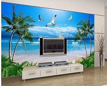 Wapel Custom 3d Wallpaper Seaside Tree Beach Boat Seagull Background
