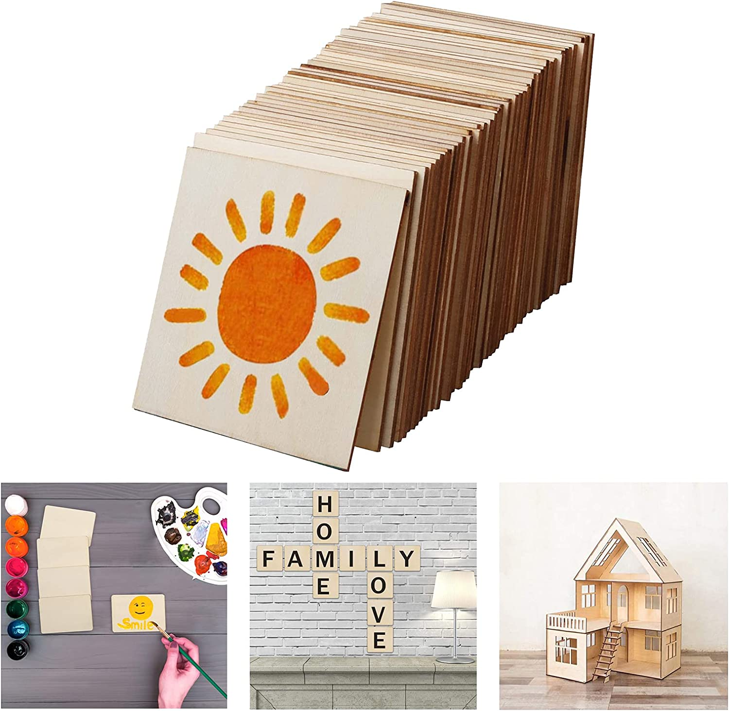 50PCS Unfinished Wood Slices for Scrabble Wall Art, 4 x 4 Inch Square Blank Natural Wooden Board Pieces for Coasters, DIY Crafts, Painting, Carving, Home Decor (0.1 inch Thick)