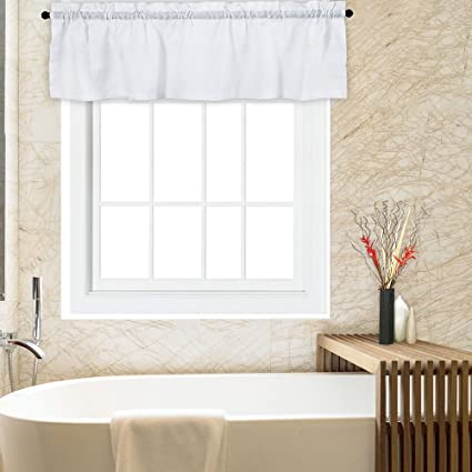 CAROMIO White Valance for Bathroom, Water Repellent Waffle Woven Textured  Valance Curtains for Windows Rod Pocket Kitchen Valance Curtain Cafe ...
