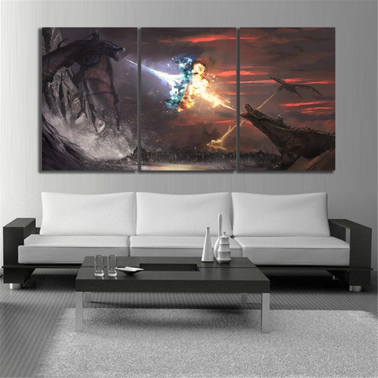 OfinaBiz How to Train Your Dragon 3 Modern Wall Decor 5 Piece Painting HD Canvas Decorative Painting Home Sofa Background Decor Restaurant Poster Total 150 Cm X 80 Cm (Ofi927)