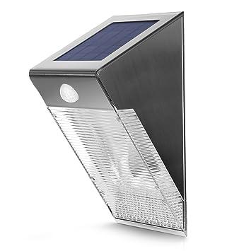 Maclean Energy MCE Lámpara Solar LED Sensor de movimiento PIR jardín terraza IP65 sensor crepuscular ahorro