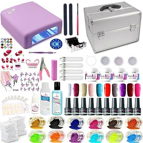 Onglesonline - Maleta de manicura, incluye 4 geles, 10 barnices semipermanentes, lámpara violeta
