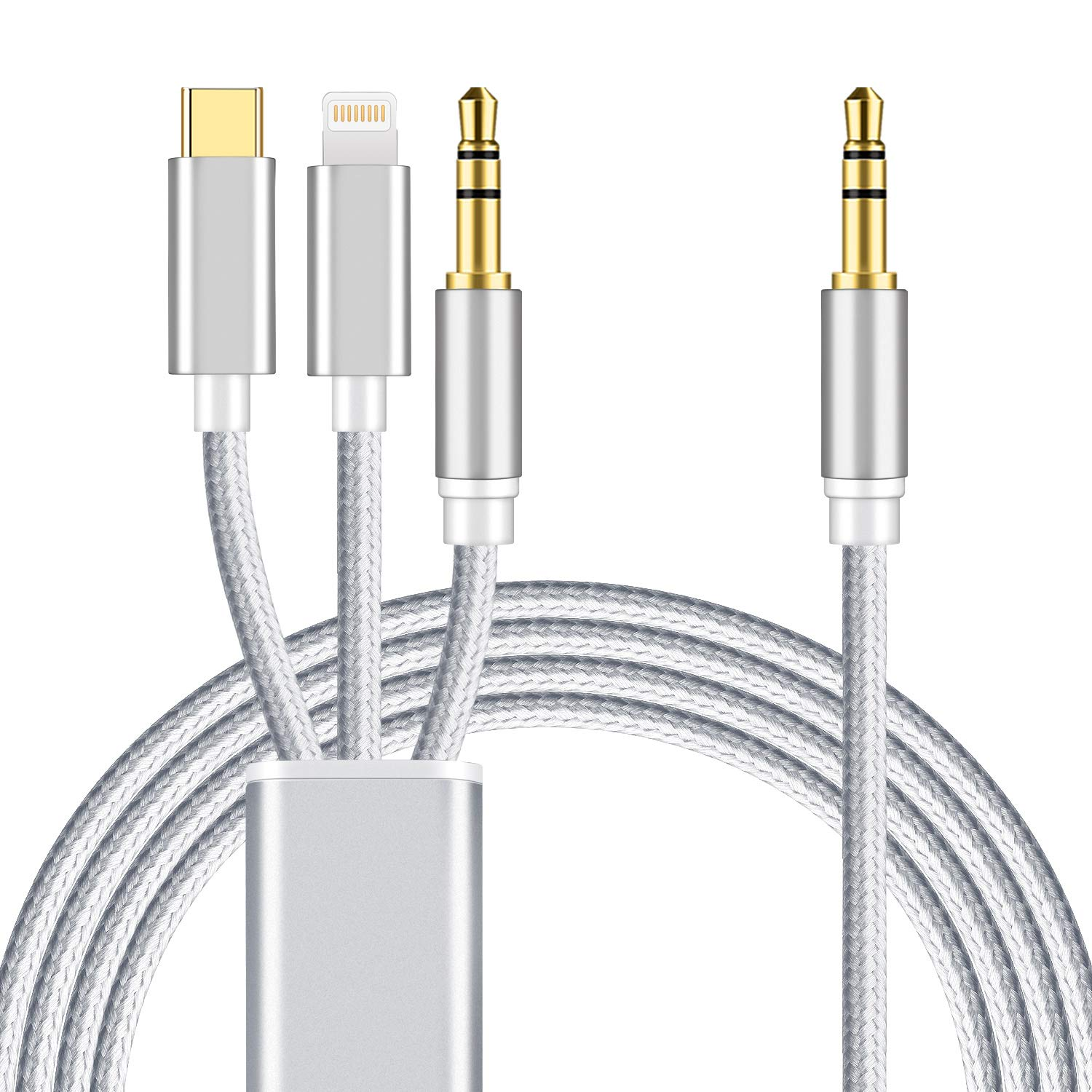 3 in 1 Car Aux Cable, Mxcudu 3 in 1 Headset Audio Cord Car Stereo Aux Cable Compatible with Google Pixel 3/3XL/2/2XL, OnePlus 7/7Pro/6T, Samsung Galaxy S10/S9, iPhone Xs/XR/8 Plus/7 and More (Silver)