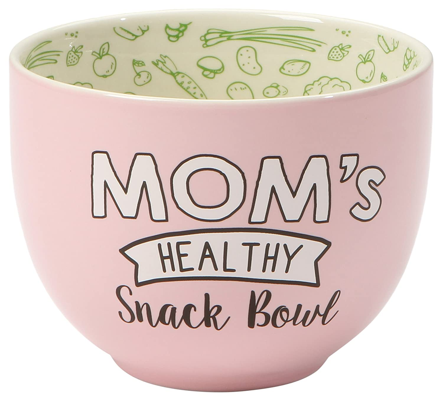 "Our Name is Mud ""Mom's Healthy Snack Bowl"" Pink Stoneware Bowl, 4""x5"" 4""x5"" Enesco 6001059"