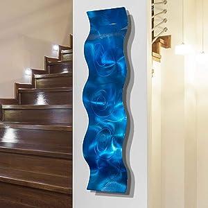 Statements2000 3D Abstract Metal Wall Art Accent Sculpture Modern Blue Decor by Jon Allen, 46