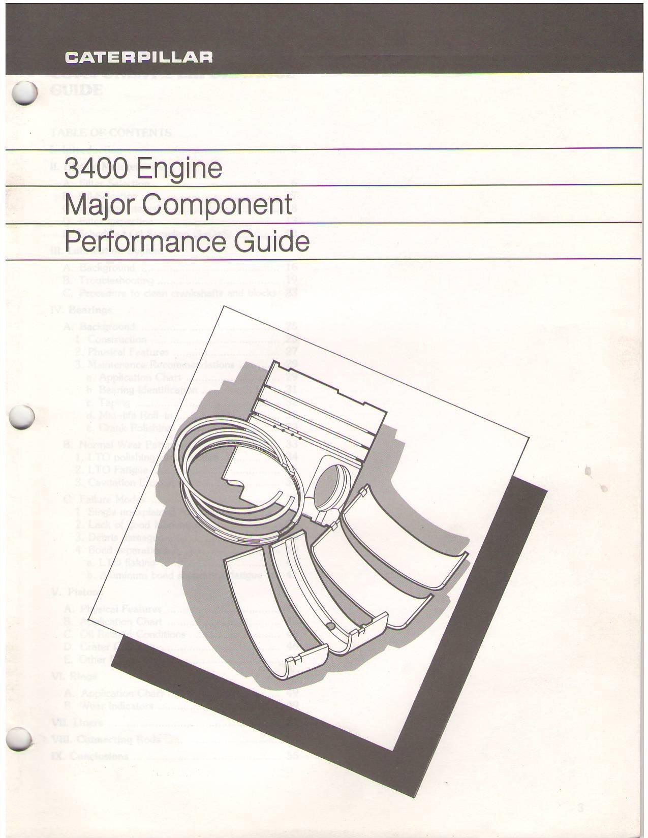 caterpillar 3400 engine major component performance guide rh amazon com