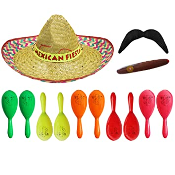 MEXICAN HAT /& MARACAS /& EXTENDABLE TASH PACK OF 3 FANCY DRESS COSTUME ACCESSORY