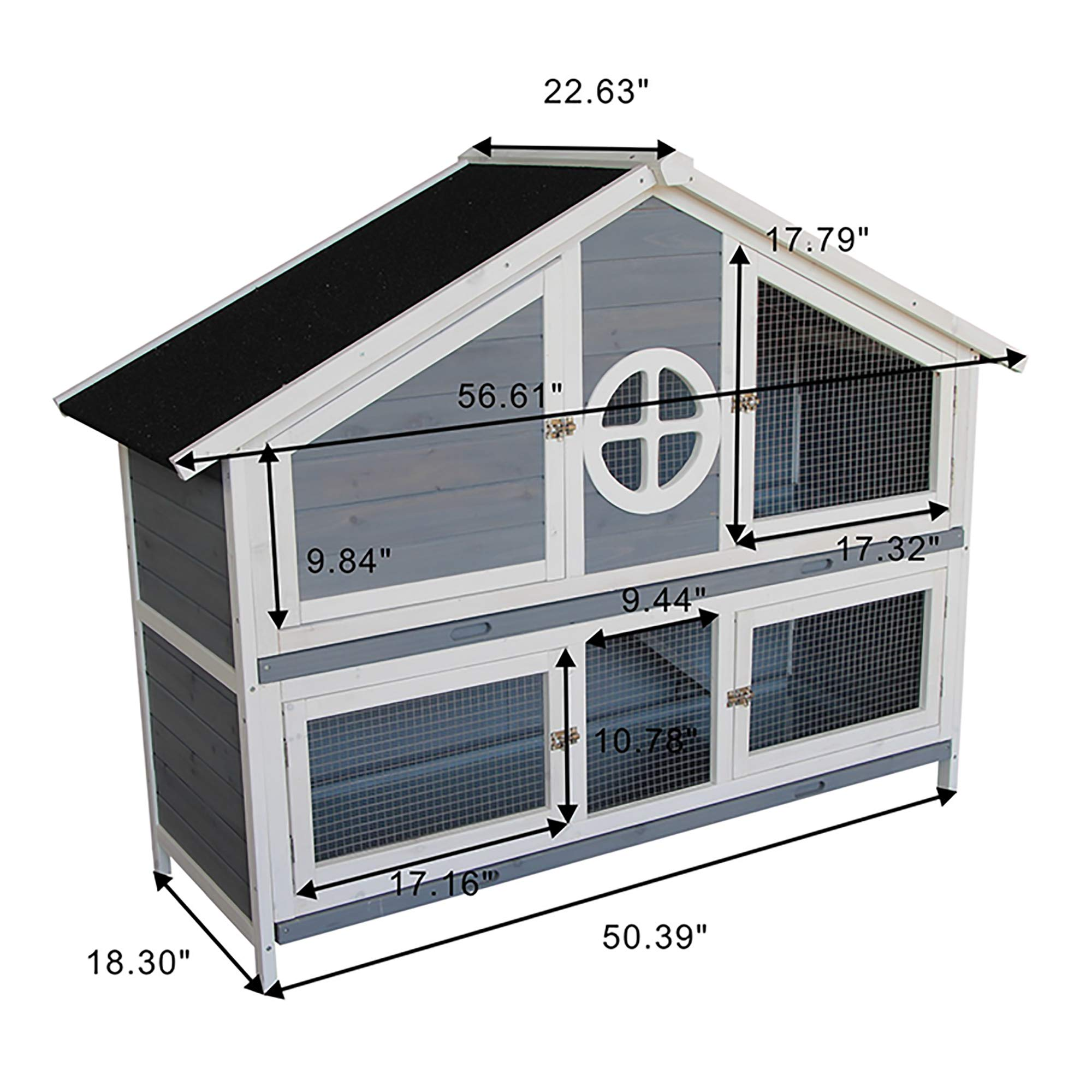 Rhomtree Large Wooden Rabbit Hutch Chicken Coop Bunny Animal Hen Cage House Great for Rabbits, Chickens, Ducks, and Other Poultry (Grey) by Rhomtree (Image #6)
