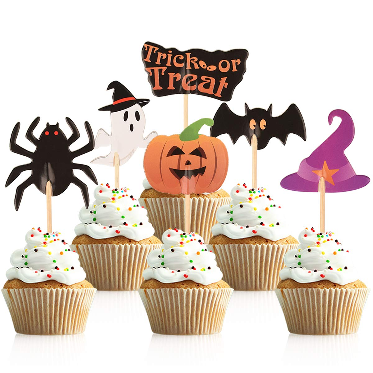 Donoter 60 Pcs Halloween Cupcake Toppers Trick or Treat Pumpkin Spider Bat Ghost Witch Hat Food Picks for Halloween Party Dessert Decorations