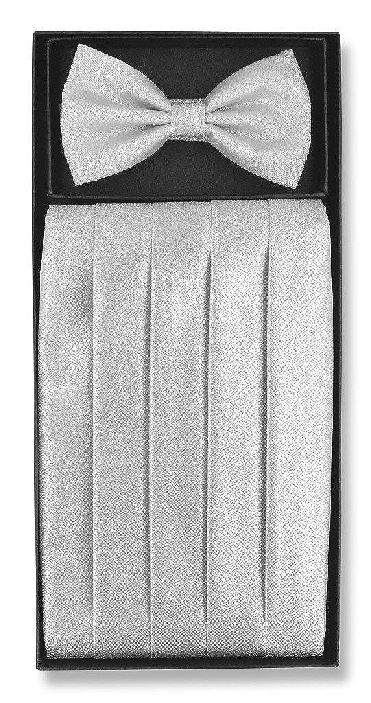 Cumberbund /& BowTie SILVER GREY METALLIC Design Mens Gray Cummerbund Bow Tie Set