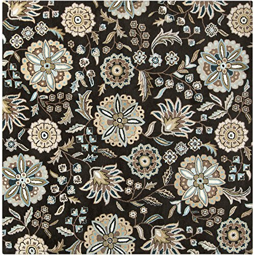 Surya Athena ATH-5061 Transitional Hand Tufted 100% Wool Jet Black 6' Square Floral Area Rug