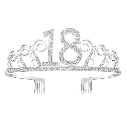 Corona de GreeStore, para cumpleaños de 18, con diamantes de imitación, regalo de 18 cumpleaños, accesorios de fiesta