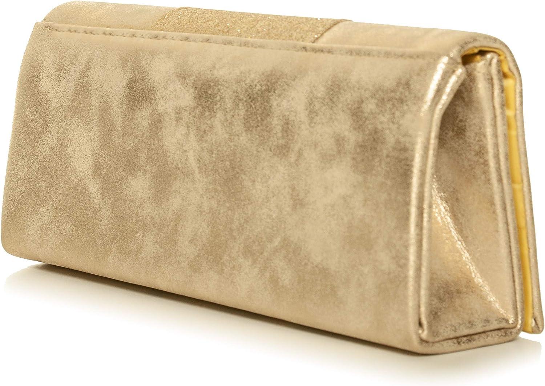 B x H x T 120 cm 25 x 11 x 5,5 cm VINCENT PEREZ Damen Clutch Abendtasche Unterarmtaschen Umh/ängetasche aus Kunstleder Vintage Glitzer-Optik mit abnehmbarer Kette