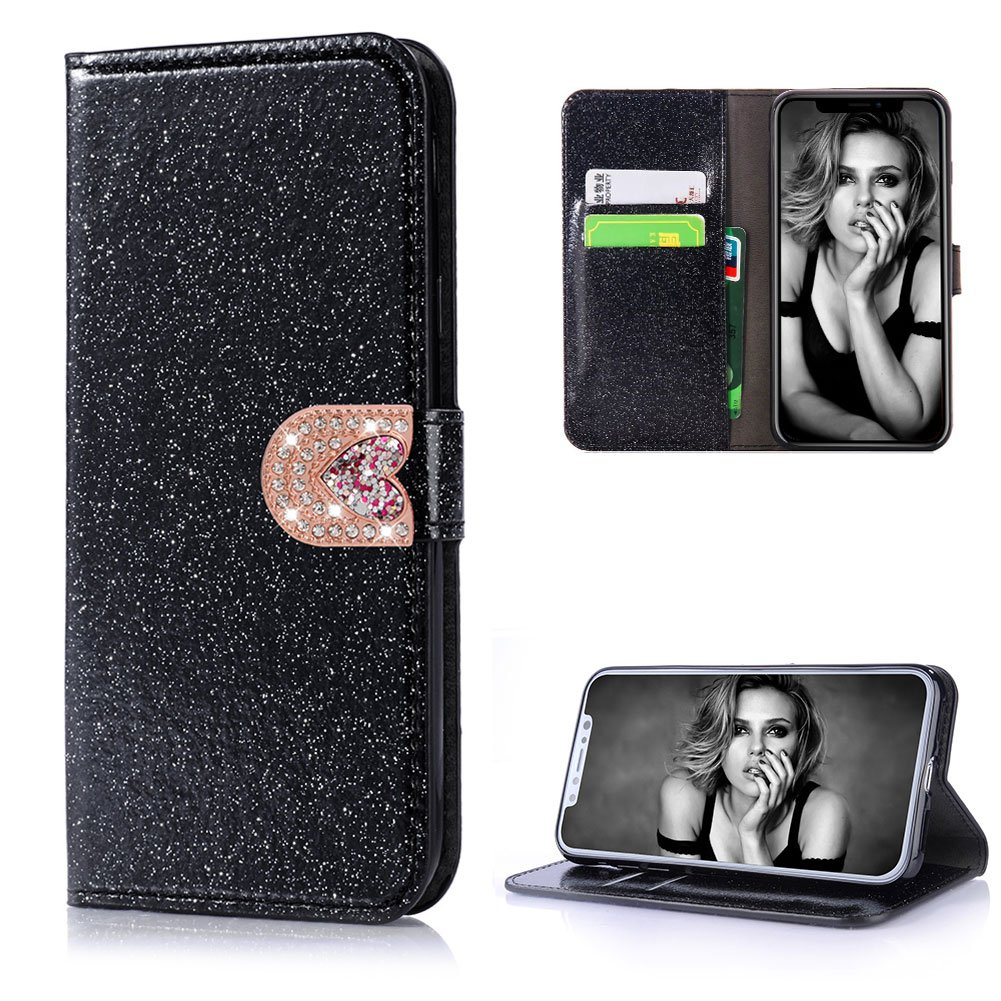 Cistor Bling Wallet Case for iPhone X,Luxury Black Diamond Love Heart Magnetic Closure Case for iPhone X,Shockproof PU Leather Case with Card Slot for iPhone X