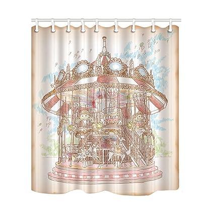 NYMB Merry Go Round Decor Cartoon Carousel For Kids Bath Curtain Polyester Fabric Waterproof