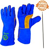 "Everforge 14"" MIG and TIG Welding Gloves For Welders - Free Steel Welding Rod - Heavy Duty Reinforced Kevlar Stitching - Extreme Heat Resistant Double Insulation - One Size Fits All - Blue and Yellow"