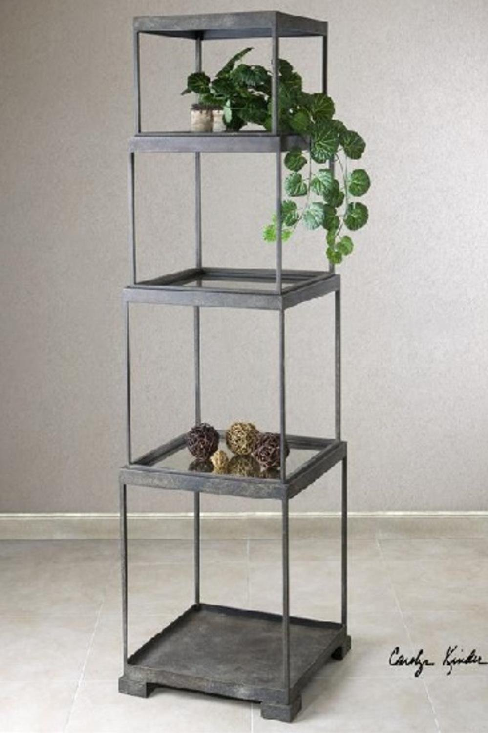 71'' Distressed Bronze Metal Stacked Cubes Decorative Etagere Display Shelf