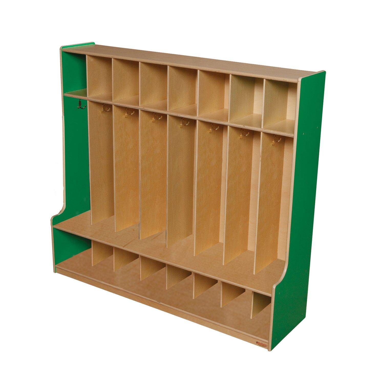 Wood Designs 51008G Green Apple 8 Section Seat Locker, 49'' Height, 18.5'' Width, 57'' Length
