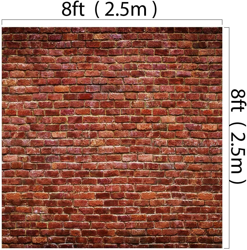 Kate 8x8ft Red Brick Wall Photography Background Rustic Brick Paper Backdrops for Photographer