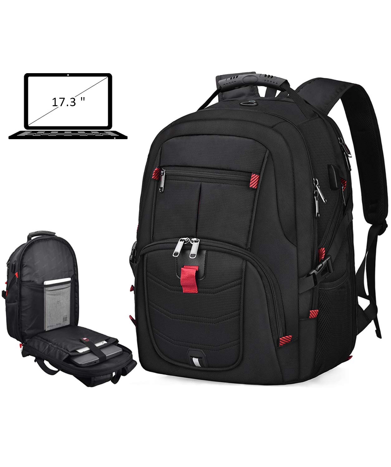 Laptop Backpack 17 Inch Waterproof Extra Large TSA Travel Backpack Anti Theft College School Business Mens Backpacks with USB Charging Port 17.3 Gaming Computer Backpack for Women Men Black 45L by NUBILY