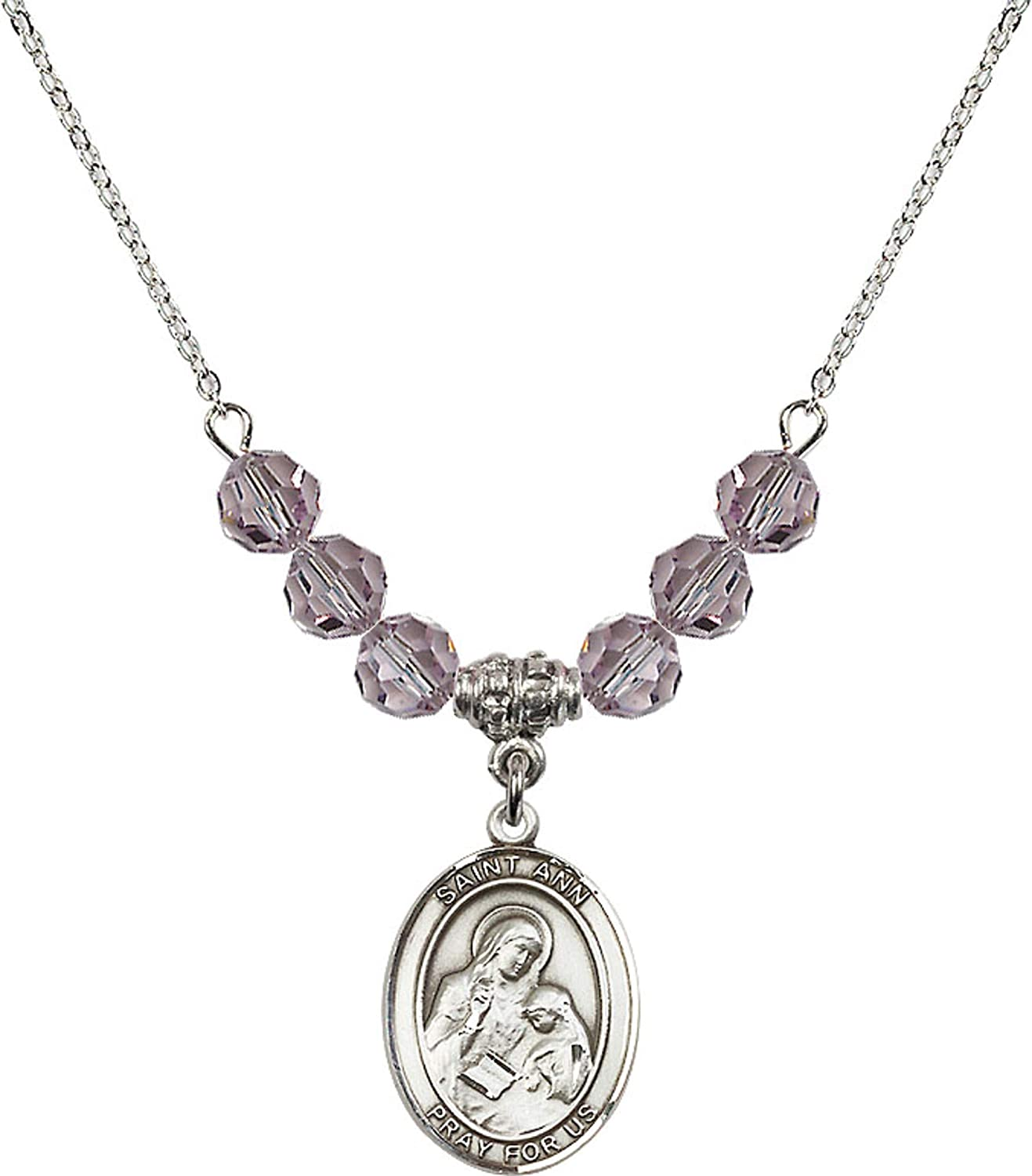 Bonyak Jewelry 18 Inch Rhodium Plated Necklace w// 6mm Light Purple February Birth Month Stone Beads and Saint Ann Charm