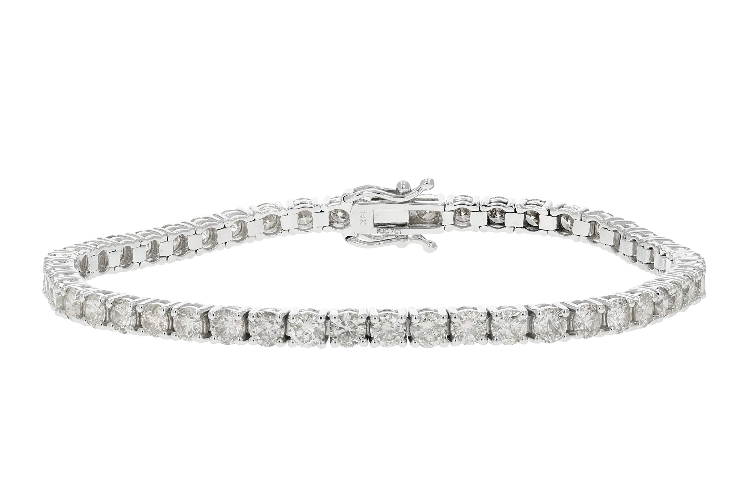 7 cttw Certified Classic Tennis Diamond Bracelet 14K White Gold I1-I2 Clarity L-M Color by Vir Jewels