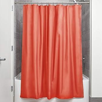 Interdesign Rideau De Douche Tissu Impermeable 183 0 Cm X 183 0 Cm Rideau Douche En Polyester Rideau Textile Lavable Ourlet Renforce Orange