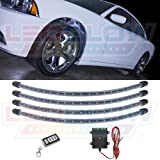 LEDGlow 4pc White LED Wheel Well Fender Light Kit - Flexible Waterproof Tubes - Includes Wireless Remote
