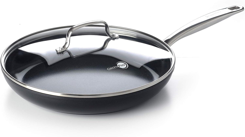 GreenPan Prime Midnight Ceramic Frying Pan, 12'' Frypan, Black