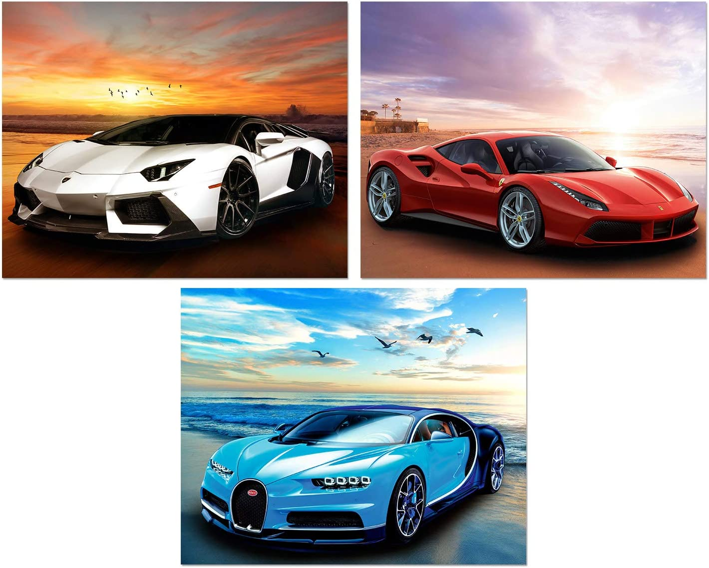 Car Posters - Lamborghini, Ferrari, Mclaren, Sports Car Wall Art - Supercar Decor Set of 3 Unframed (10x8 inches) Exotic Supercars Pictures - Beach Theme