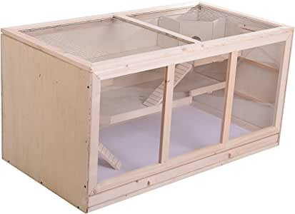 PawHut D2-0041 Fir Wood Hamster Cage Mouse Rats Mice Small Animals Exercise Play House with Slide Wooden Coop
