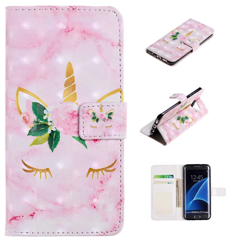XTstore Funda Samsung Galaxy S7 Edge, Patrón de Unicornio Carcasa Libro de Cuero con Correa de Mano Cubierta de Billetera Protector Suave Silicona ...